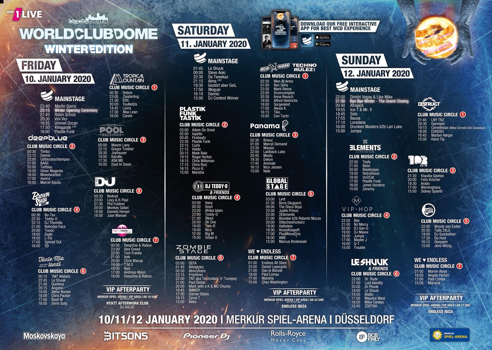 BigCityBeats WORLD CLUB DOME Winter Edition 2020   Timetable